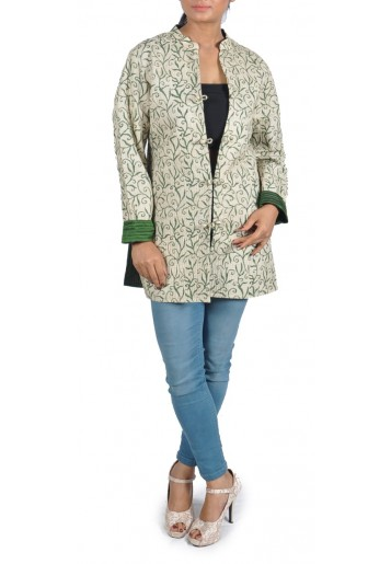 Reversible, Printed and Kantha Embroidered Tussar Jacket