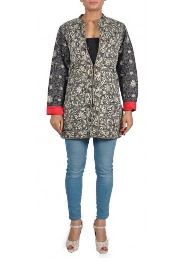 Reversible, Floral Kantha Embroidered Silk Jacket