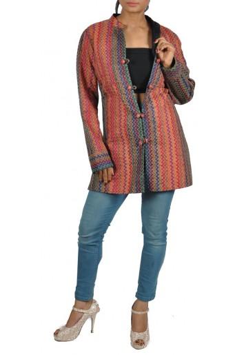 Reversible, Geometric Kantha Embroidered Jacket