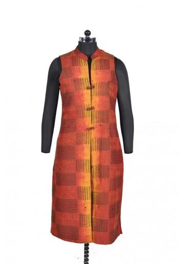Reversible, Floral Kantha Embroidered Long Jacket